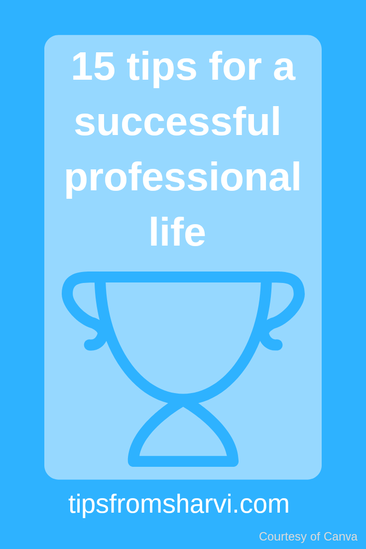 15 tips for a successful professional life, Tips from Sharvi.